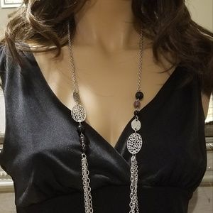 Beautiful long silver and black necklace  earrings